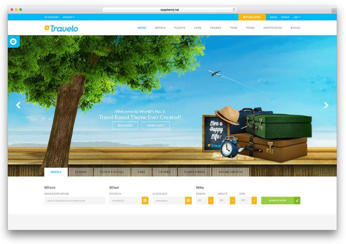 Travelo - giao diện website du lịch