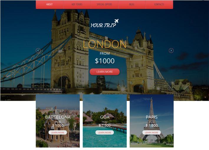 Giao diện website du lịch ấn tượng Your Trip