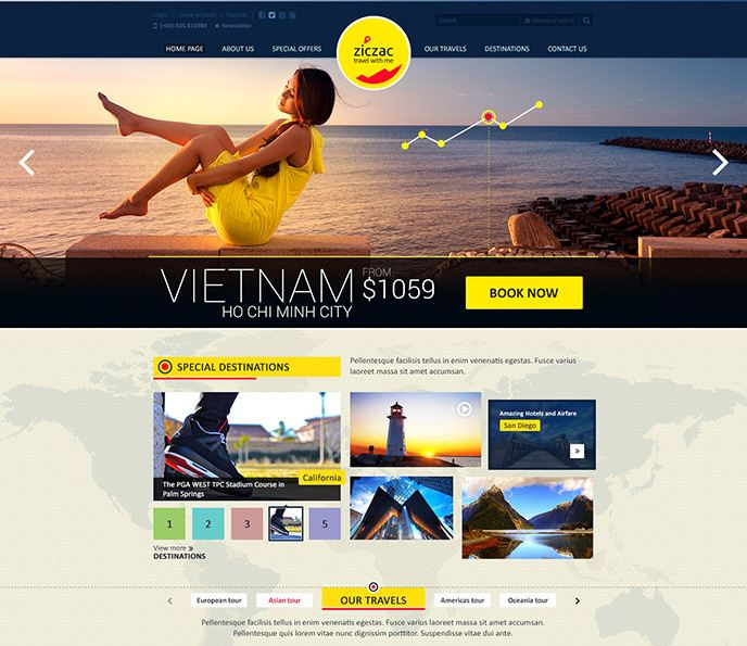 Giao diện website du lịch - ziczac travel